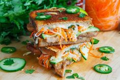 Get creative with your grilled cheese sandwiches! We can't wait to try this Banh Mi Grilled Cheese at Closet Cooking Banh Mi Sandwich, Sandwich Recipes, Pickled Carrots, Grilled Cheese Recipes, Wrap Recipes, Asian Recipes, Easy Family Meals, Wrap Sandwiches, Melted Cheese