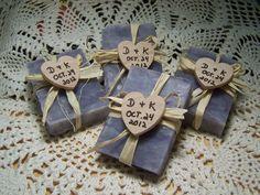25 bridal shower favors soaps - mini soaps - LAVENDER - Shea butter, organic,  handmade soap - rustic wedding favors. $39.95, via Etsy.