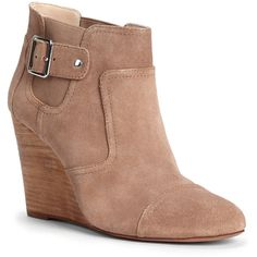 Sole Society Heather Wedge Bootie ($45) ❤ liked on Polyvore featuring shoes, boots, ankle booties, heels, wedges, ankle boots, winter tan, wedge bootie, wedge heel booties and wedge ankle boots