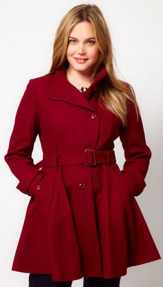 asos curve | fit & flare coat with belted waist | { plus size