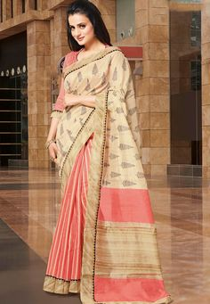 A breathtaking Cream& Pink Color Mysore SilK Designer saree showcasing an aweinspiring Plant motifs on the body with a lace border