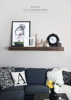 DIY FLOATING SHELF! It costs under $20 and is so quick to build!