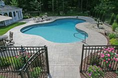 Decorative stamped concrete (also known as patterned or impressed concrete) delivered many varieties, colors, and patterns in CT. View our gallery - All For Garden Pool Pavers, Backyard Pool Landscaping, Backyard Pool Designs, Patio Design, Brick Pavers, Garden Design, Concrete Deck, Stamped Concrete, Concrete Design