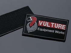 Vulture Logo Embossed PVC Patch - Male Velcro Backed. Made In The USA