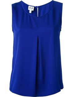 Shop Armani Collezioni sleeveless top in Spinnaker 141 from the world's best independent boutiques at . Over 1000 designers from 300 boutiques in one website. Loose Fitting Tank Tops, Loose Tank, Loose Shirts, Pleated Shirt, Work Attire, Fashion Outfits, Womens Fashion, Blouse Designs, My Style