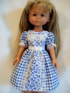 Corolle Les Cheries Doll Clothes, White and Blue Dress, fits 13-14inch slim Dolls