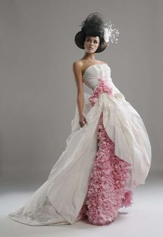 A WEDDING DRESS MADE OUT OF TOILET PAPER