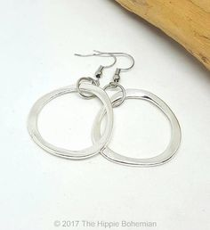 Silver Rounded Triangle Large Hoop Earrings  Silver Earrings