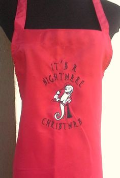 This Jack Skellington apron is embroidered with vibrant thread colors to provide an image that truly stands out. It makes a great gift for that Nightmare Before Christmas Fan in your life.   *Each item is custom made when you check out, please allow 2 to 3 weeks for your order to be