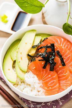 Salmon Sashimi Bowl with Avocado   omnivorescookbook.com @OmnivorCookbook