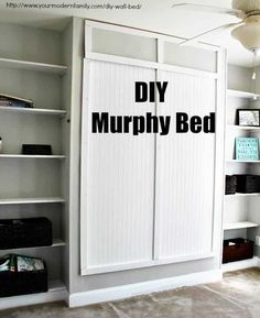 This DIY wall bed is the perfect Queen Murphy Bed! These Murphy Bed plans are easy & can be done over a weekend. Shows you exactly how to Build a Murphy Bed Build A Murphy Bed, Queen Murphy Bed, Murphy Bed Desk, Murphy Bed Plans, Office With Murphy Bed, Diy Wand, Camas Murphy, Murphy-bett Ikea, Ikea Hack
