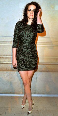 Kristen Stewart in cap-toe pumps.