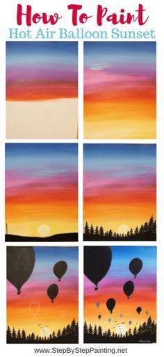 how to paint a hot air balloon sunset easypaintings paint your own sunset with silhouettes of hot air balloons and a treeline this step by step acry Easy Canvas Art, Simple Canvas Paintings, Small Canvas Art, Easy Canvas Painting, Easy Acrylic Paintings, Easy Painting For Kids, Acrylic Painting For Kids, Acrylic Canvas, Abstract Paintings