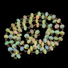 """35CRTS 4.5to5MM 24"""" ETHIOPIAN OPAL RONDELLE BEADS CHAIN NECKLACE OBI1444 #OPALBEADSINDIA"""