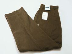 Perry Ellis 36 32 Sateen Twill Flat Front Desert Palm Brown Straight Leg Pants #PerryEllis #DressPants