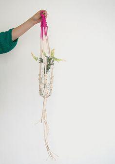 Pink macrame plant hanger, dyed plant hanger, pot plant holder, plant hanging basket, rope pot planter, indoor planter, terrarium holder