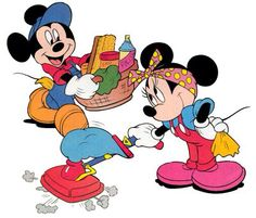 Mickey & Minnie cleaning up around the house.