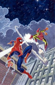 Mark Bagley and John Romita Sr. - Overstreet Comic Book Price Guide #22 Cover Featuring Spider-Man and The Green Goblin Original Art (1992).