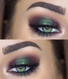 Metallic green eye makeup for green eyes