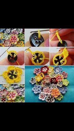 Turn buttons into flowers. Perfect for buttons on cardigans, or attach to a bobby pin or headband!
