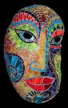 "Stone mask "" Bollywood Dream"" by Herzstücke Mosaic Masks, via Flickr"