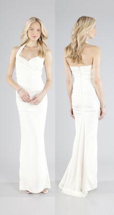 Figure-flattering halter bridal gown