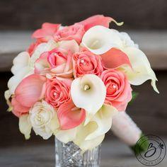 Coral wedding bouquet, Calla lily bouquet, calla lilly wedding bouquet, coral and ivory bouquet, bri Calla Lillies Wedding, Calla Lily Bouquet, Rose Bouquet, Calla Lilies, Lily Wedding, Rose Wedding Bouquet, Wedding Coral, Prom Flowers, Bridal Flowers