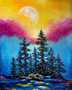 Learn to Paint Moonrise Sparkle tonight at Paint Nite! Our artists know exactly how to teach painters of all levels - give it a try!