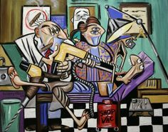 The Dentist Is In, Root Canal t Dental Art Cubist Teeth Print Giclee Anthony Falbo
