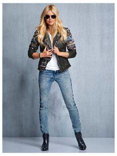 #Lederjacke #Shirt #Jeans
