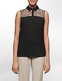 abstract print mesh detail sleeveless top $49.50