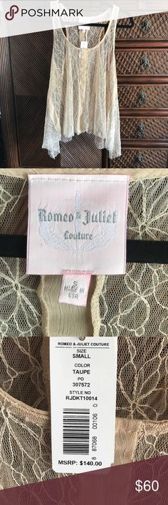 Romeo & Juliet Couture Sm Taupe Sheer Raw Edge Top NWT Romeo & Juliet Couture Sm Taupe Sheer Raw Edge Top Romeo & Juliet Couture Tops