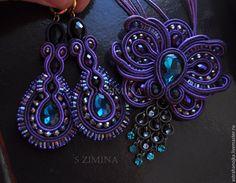 Купить Комплект Фиолет - темно-фиолетовый, комплект, сутажные украшения, сутаж, фиолетовый комплект