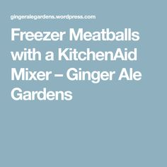 Freezer Meatballs with a KitchenAid Mixer – Ginger Ale Gardens