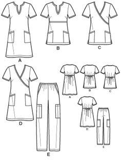 New Look 6817 Misses Scrubs: Dresses, Tops and Pants Medical Scrubs, Nurse Scrubs, Scrubs Pattern, Mens Sewing Patterns, Scrubs Uniform, Nursing Dress, Pants Pattern, Textiles, New Look