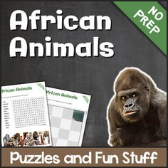 Lets learn African Animals with these fun and educational puzzles!Word searches, crossword puzzles, word scrambles and a cut & paste puzzle are included in this 8 page printable. These easy-to-use activities come in different levels.The following animals are addressed:LionElephantGorillaLeopardRhinoCheetahGazelleBuffaloHippoZebraGiraffeCamelAnswer key is provided.Lets learn African Animals with these fun and educational puzzles!Word searches, crossword puzzles, word scrambles and a cut &a...