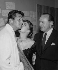 Debbie Reynolds with Dean Martin and Jack Benny March 6, 1957, Sands Hotel. That night in the Copa Room he opened solo. Jack sat ringside.