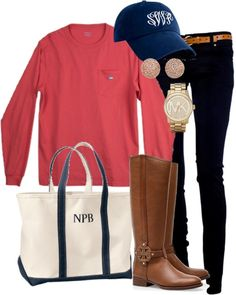 Casual outfit with cute monogrammed hat and tote