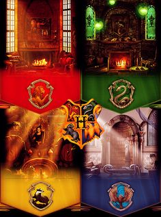 Hogwarts houses & common rooms. Love R and G.