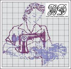 A Lady Sewing Cross Stitch Pattern · Cross-Stitch | CraftGossip.com