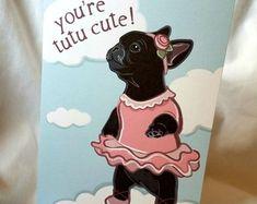 Black French Bulldog Ballerina Greeting Card