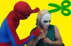 spiderman cut Joker's hair Frozen Elsa Fun Superheroes movie in real life