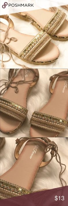 Gold beaded sandals New. Never worn. They just didn't fit. Forever 21 Shoes Sandals