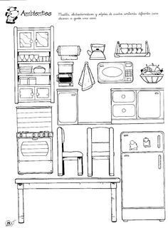 Cut-outs Parts of the house House Colouring Pages, Coloring Books, Coloring Pages, Learning English For Kids, Barbie Paper Dolls, Paper Doll House, Paper Pop, Printable Coloring Sheets, Paper Games