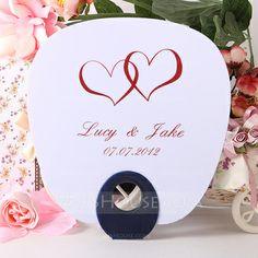 Personalized Favors - $4.89 - Personalized Double Hearts Plastic Hand Fans (118029521) http://jjshouse.com/Personalized-Double-Hearts-Plastic-Hand-Fans-118029521-g29521