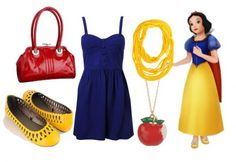 """""""Snow White Outfit #3 ~ This dress is a lot like Snow White's dress in the film, with the corset top and A-line silhouette, but it's different enough to not look like it's a costume. The apple necklace represents, of course, Snow White's poison apple."""""""