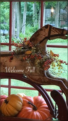 primitive decor and Primitive Fall, Primitive Christmas, Country Primitive, Antique Rocking Horse, Rocking Horses, Autumn Decorating, Decorating Ideas, New England Fall, Equestrian Decor
