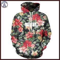 Mr.1991INC Autumn Winter Fashion Men/women Hoodies With Cap Print Red Flowers Green Leaves 3d Hooded Sweatshirts Hoody Tracksuit