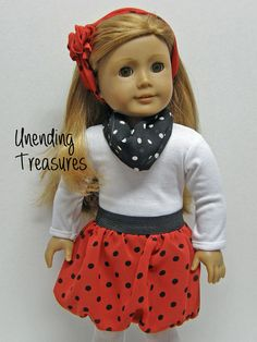 American Girl doll clothes, 18 inch doll clothes, red chiffon bubble skirt, white top*, and 2 scarves