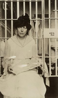 Lucy Burns fought for women's right to vote.  Her and Alice Paul eventually formed the National Women's Party.  This is a photo of Burns after she was arrested for trying to gain the right to vote.